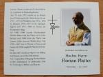 Trauerkarte zum Tod von Florian Platter
